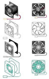 Computer fan. Illustration of computer fan in different styles - flat and isometric, color and black and white Royalty Free Stock Photos