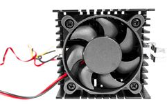 Computer fan. With wire isolated on white background Royalty Free Stock Image