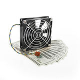 Computer fan and money Stock Image