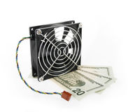Computer fan and money Royalty Free Stock Images