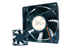 Computer Fans. Two fans from inside a computer royalty free stock photos