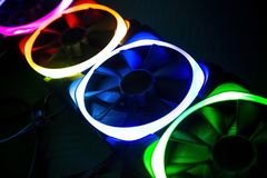 Computer Fans with color lights led royalty free stock image