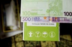 Computer fatto nel segno della Cina con l'euro moey Immagine Stock Libera da Diritti