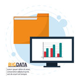 Computer file and big data design. Computer and file icon. Big data center base and information theme. Colorful design. Vector illustration Stock Photo