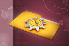 Computer file folder with gear. In color background Royalty Free Stock Photography