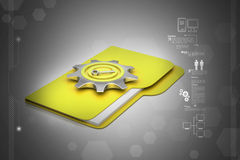 Computer file folder with gear Royalty Free Stock Photo