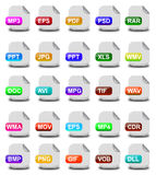 Computer file format icons Royalty Free Stock Photo