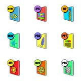 Computer file icons set, cartoon style. Computer file icons set. Cartoon illustration of 9 computer file vector icons for web Royalty Free Stock Photos