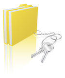 Computer file keys document security concept. Illustration of file folder attached to keys as a keyring. Concept for secure file storage, access etc Stock Image