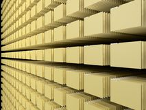 Computer file system. Concept.yellow paper type folders Stock Photo