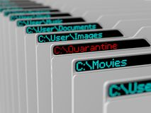 Computer file system. Illustration of computer file system.hi tech designed files with lcd screen Stock Photo