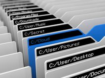 Computer file system illustration. And selected blue folder.(blue cloud storage folder version Royalty Free Stock Images