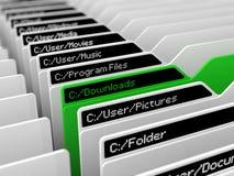 Computer file system illustration. And selected blue folder.green download folder version Stock Image