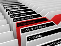 Computer file system illustration. And selected blue folder.red download folder version Royalty Free Stock Image
