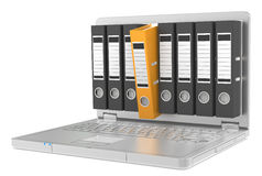 Computer Files. Laptop with Files, one orange Royalty Free Stock Image