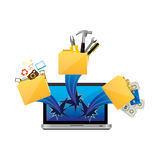 Computer with files tools outside icon Royalty Free Stock Photography