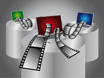 Computer film editing. Computer notebook with film editing Royalty Free Stock Photography