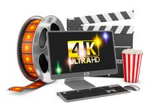 Computer and film strip. Modern computer with an inscription on the screen 4K, popcorn and film strip on a white background, 3d rendering with Clipping Path Royalty Free Illustration