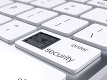 Computer and financial security concept. Computer keyboard with bank safe metal door on Enter key. 3d rendering. Computer and financial security concept Royalty Free Stock Image
