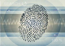 Computer Fingerprint. Illustration of a fingerprint with size and match points indicated.  On a background of a sound graph, with computer screen background Stock Photos