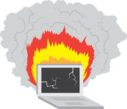 Computer on Fire Royalty Free Stock Images
