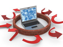 Computer firewall concept with red arrows Royalty Free Stock Image