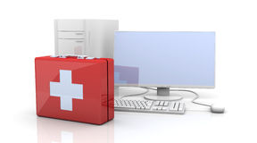 Computer First aid. 3D Illustration. Isolated on white Royalty Free Stock Images