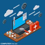 Computer first aid, technical support vector concept. Computer first aid, service, technical support flat 3d isometric vector concept illustration Royalty Free Stock Photos