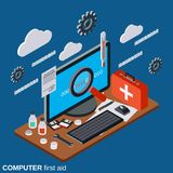 Computer first aid, technical support vector concept. Computer first aid, service, technical support flat 3d isometric vector concept illustration Stock Image