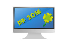 Computer flat  monitor with pf 2016 wishes Royalty Free Stock Photography