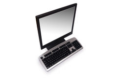 Computer with flat screen. Isolated on white Stock Images