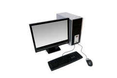 Computer with flat screen Royalty Free Stock Image