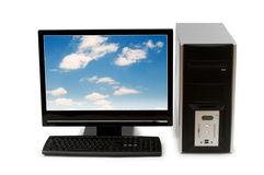 Computer with flat screen. Isolated on white Stock Photos