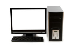 Computer with flat screen. Isolated on white Royalty Free Stock Photo