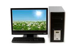 Computer with flat screen. Isolated on white Stock Photography