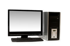 Computer with flat screen isolated. On white Royalty Free Stock Image