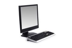 Computer with flat screen isolated on white Stock Image