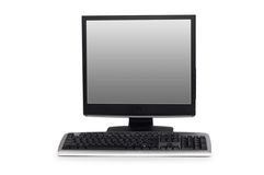 Computer with flat screen isolated on white. Computer with flat screen  isolated on white Stock Photography