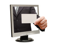 Computer flat screen monitor giving a card Stock Photo