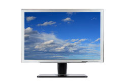 Computer flat wide screen Stock Photos