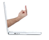 Computer flipping the bird Stock Photos