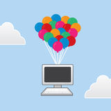 Computer Floating Balloons Stock Photos