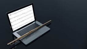 Computer with flute. Design made in 3D Stock Image