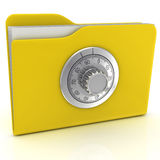 Computer folder with combination lock. Stock Images