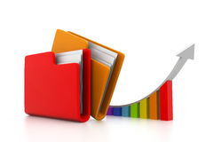 Computer folder with growth graph. 3d Computer folder with growth graph Stock Photos