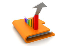 Computer folder with growth graph. 3d Computer folder with growth graph Stock Photo