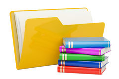 Computer folder icon with books, 3D rendering. On white background Stock Photos