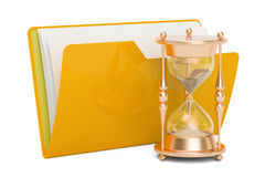 Computer folder icon with clock, 3D rendering. Isolated on white background Royalty Free Stock Photos