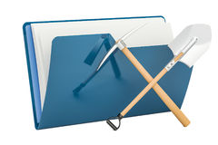 Computer folder icon with crossed pickaxe and spade, 3D renderin Stock Photo
