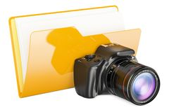Computer folder icon with digital camera, 3D rendering. Isolated on white background Royalty Free Stock Photos